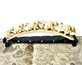 """Vintage Faux Ivory Chinese Museum Reproduction of Lucky Elephants in a Row/ Resin """"Ivory""""  Tusk Carving/  Replica of Antique"""