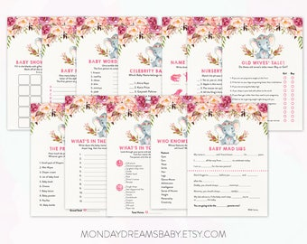Elephant Baby Shower Games Celebrity Baby Names Printable Baby