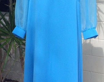 TRUE VINTAGE Women's Maxi Dress Size M Blue Polyester Long Sleeve by ILGWU