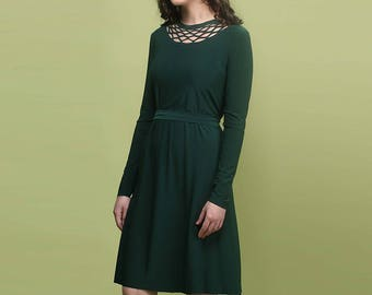 Modest Dress, Long Sleeve Dress, Emerald Green Dress, Dark Green Dress Midi Dress A Line Dress Tea Length Dress Spring Dress Plus Size Dress