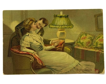 Antique Illustrated French Postcard with Romantic Kissing Couple.