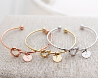Tie the Knot Bracelet, bridesmaid gift, personalized bracelet, initial bracelet, sorority gift, love knot bracelet, Tie the Knot bangle