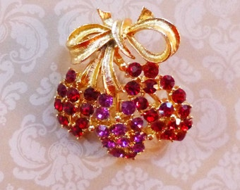 SALE Vintage 1930's Costume Jewelry Pink and Red Rhinestone Brooch Pin
