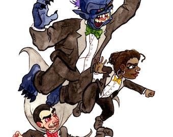 Monster Plus, Tuxedo Trio, Original Watercolor