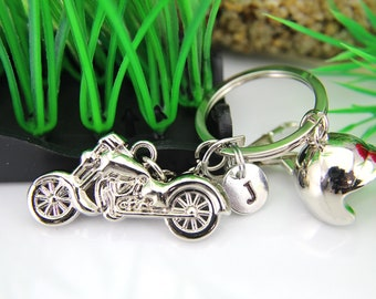 Biker Keychain, Silver Motorcycle and Helmet Keychain, Father's Day Gift, Mother's Day Gift, Travel Gift, Outdoors Gift, Biker Gift, K08