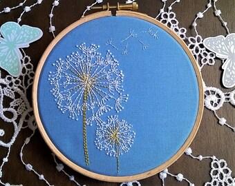 Beginner Embroidery KIT -  hand embroidery kit - DIY embroidery Kit - modern embroidery pattern -  beginner craft kit - dandelion