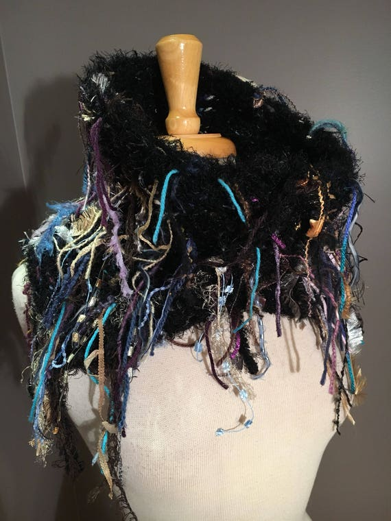 Hand knit Split Shag Cowl, Couture Black cowl, Fringed Design, high neck, 'Wonderland' colorblend, funky neckwarmer, boho chic, cozy cowl