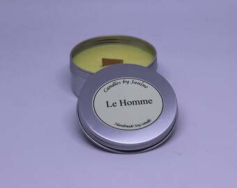 Handmade designer inspired scented candle. Le Homme. wood wick tin
