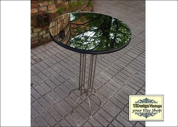Mesa de espejo, Mesa redonda auxiliar, Mesa de metal, Muebles con espejo, Mesa salón, Mesa para la lámpara, Mesa redonda alta, Mesa velador