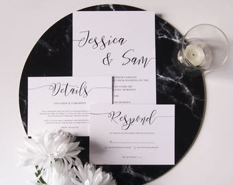 Minimal Calligraphy Wedding Invitation Suite
