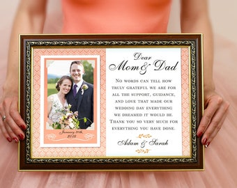 Thank You Parents Wedding Gift, Parents Thank You Gift Wedding, Gift For Parents Of The Bride, Parents Of The Groom Gift, Wedding Frame