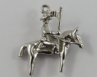 Royal Canadian Mounted Police (RCMP) Riding Horse Sterling Silver Vintage Charm For Bracelet