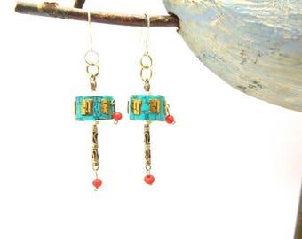 Prayer mill earrings Tibetan Silver 925 earpins
