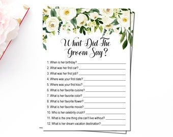 Boho What did the groom say, White Floral Greenery Bohemian, What did he say about her, Bridal Shower Game Printable, Instant Download B72
