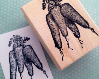 Bunch of Carrots  Wood Mounted Rubber Stamp 1245