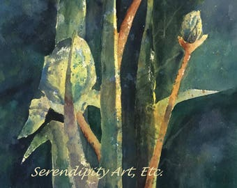 "Midnight Irises - 8.5"" x 11"" Original Watercolor"