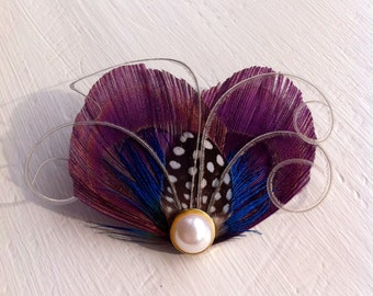 WINTER Heart and Soul Collection - Grape Purple and Grey Peacock Mini Clip, Fascinator
