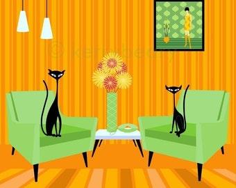 Mid Century Design Modern Black Cats 12x12 Giclee Print by Kerry Beary - Atomic Kitties