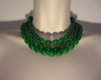Green multi strand necklace