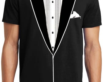 PubliciTeeZ Big and Tall King Size Classic Funny Tuxedo T-Shirt