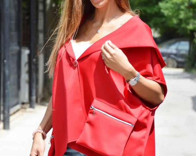 Red Neoprene Jacket, Hooded Maxi Blouse, Asymmetric Short Sleeves Sweatshirt, Maxi Tunic Top by SSDfashion