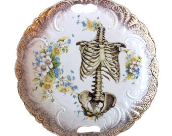 Vintage - Illustrated - Skull Plate - Skeleton -  Wall Display - Altered Plate - Antique - Upcycled - Day of the Dead - Goth