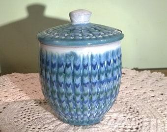 Hastings Pottery blue lidded preserve jar sugar bowl