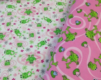 Green frogs pink flannel, white frog fabric, baby flannel, baby frog fabric, lily pad frog pond, by the yard