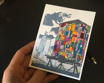 Stained Glass Water Tower in Brooklyn, NY Notecards