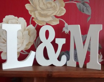 initials plus ampersand & sign, wedding gift, romantic,wooden letters,words, wedding table, engagement gift