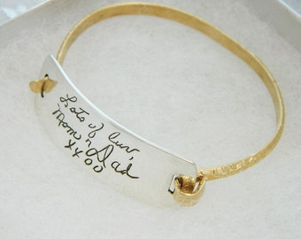 Handwriting Bracelet  loved ones' signature Sterling Silver and Gold Personalized Handwriting Jewelry
