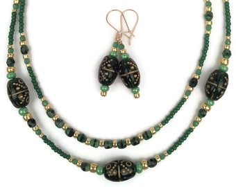 Green Czech Glass Necklace Earrings Set, Sterling Silver, Gold Filled, Green Beaded Jewelry, Matching Necklace and Earrings