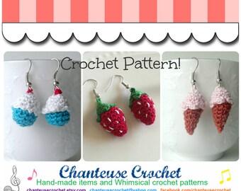 """Micro Amigurumi Crocheted Earrings PDF Pattern INSTANT DOWNLOAD """"Sweet Nothings"""""""