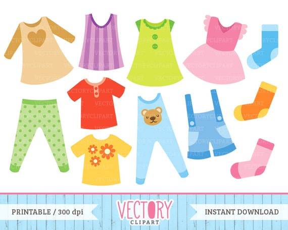 items similar to 12 clothes clip art kids clothes clipart rh etsy com clipart of clothesline clothespin clipart