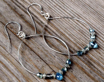 Large Silver Hoop Earrings, Pale Blue Czech Glass Beads with Silver Accents, 1 3/4 inch Hammered Hoop Earrings, Boho Style Hoops