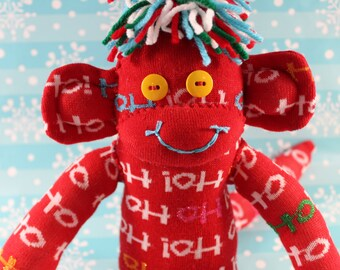 Sock Monkey / Ho Ho Ho / Christmas / Red White Blue Yellow Green / Christmas Decoration / Christmas Gift / Holiday Decoration / Holiday Gift