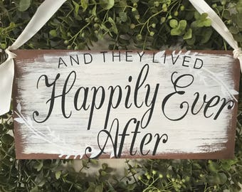 And they lived happily ever after,  Farmhouse, barn wedding, Ready to Ship.. wedding decor......KerriArt item# 667788