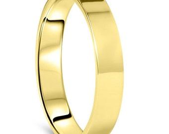 4mm 10K Yellow Gold Band, High Polished Wedding band, High Polished flat Anniversary Band, High Polished flat Wedding Band, Simple Band
