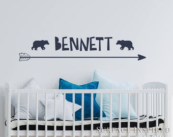 Wall Decal Kids Name With Bears and Arrow Wall Decals Nursery Personalized Name Wall Decal Scandinavian Arrow + Bears Included