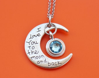 I LOVE YOU to the moon and back With Birthstone Stainless Steel Necklace,moon,moon and back,mom,daughter,grandma,granddaughter,wife,1467
