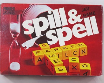 Vintage (c.1975 ) Spill and Spell crossword board game by Parker Brothers. Complete and in excellent condition.