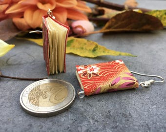 Book Earrings with Chiyogami Paper (red flowers pattern)