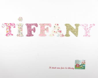Applied fusing customizable name (example, TIFFANY) of 7 letters in liberty pink and gold
