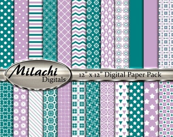 """60% OFF SALE Lilac and teal digital paper pack, 12"""" x 12"""" scrapbook papers, backgrounds - Commercial Use - Instant Download - M268"""