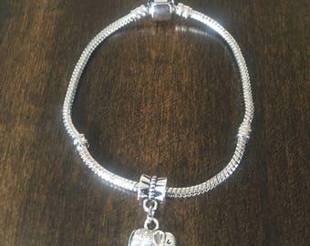Elephant, snake Chain charm Bracelet, Jewelry, 925 Silver Plated, Snake chain Bracelet
