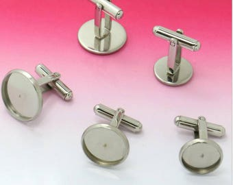 10 Cufflinks 316L Stainless Steel Cufflink Base W/ 10mm/ 12mm/ 14mm/ 16mm/ 18mm/ 20mm Round Bezel Setting Wholesale Cuff links Blanks
