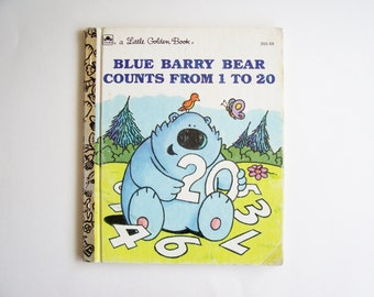 "Little Golden Book ""Blue Barry Bear Counts from 1 to 20"", Children's Book, Counting Book, Story Book, Vintage Book"