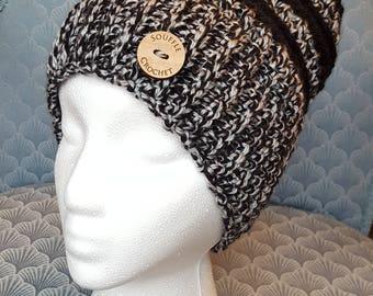 Woman's Crochet Acrylic Hat - Black and Gray