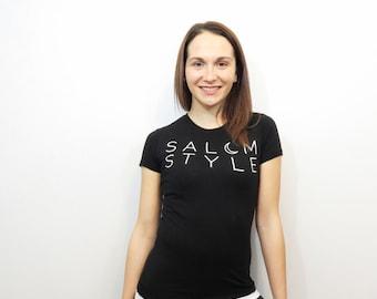 womens black t-shirt. salem style logo tee. junior size black shirt. salem massachusetts. witch style. salem witch.