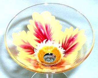 Martini Glass Yellow and Burgandy Flower Hand Painted